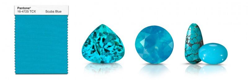 Драгоценные камни, подходящие к цвету Scuba Blue: (слева направо) турмалин параиба, хризоколла, бирюза