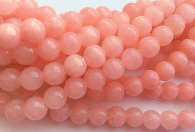 Бусы из розового жадеита