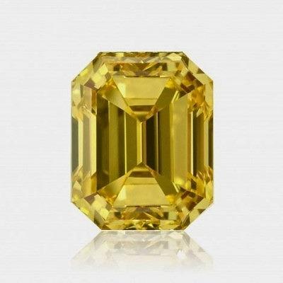 5,01-каратный ярко-жёлтый бриллиант огранки «изумруд», категория чистоты VVS2, также сертифицированный GIA, цена по требованию.