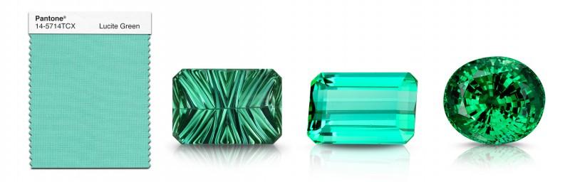 Драгоценные камни, подходящие к цвету Lucite Green: (слева направо) два турмалина и тсаворит