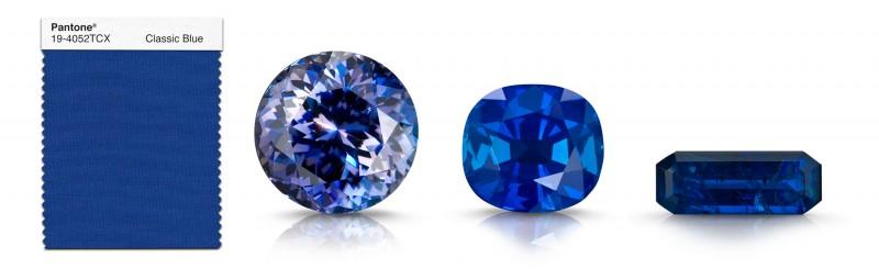 Драгоценные камни, подходящие к цвету «Классический синий»: (слева направо) калифорнийский бенитоит, кашмирский сапфир, апатит