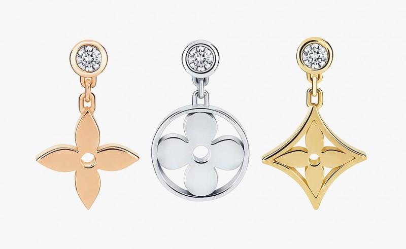 Серьги Louis Vuittonс фирменными цветочно-звездными мотивами из желтого, белого и розового золота с бриллиантами