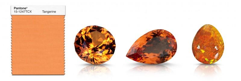 Драгоценные камни, подходящие к цвету «Мандариновый»: (слева направо)спессартин, топаз, огненный опал