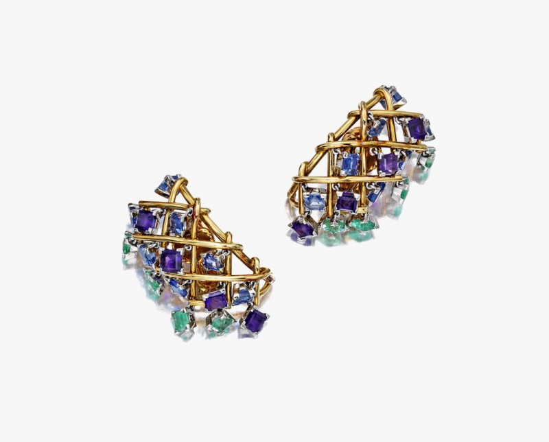 Золотые клипсы с драгоценными камнями от Жана Шлюмберже. Проданы за 22 500 долларов