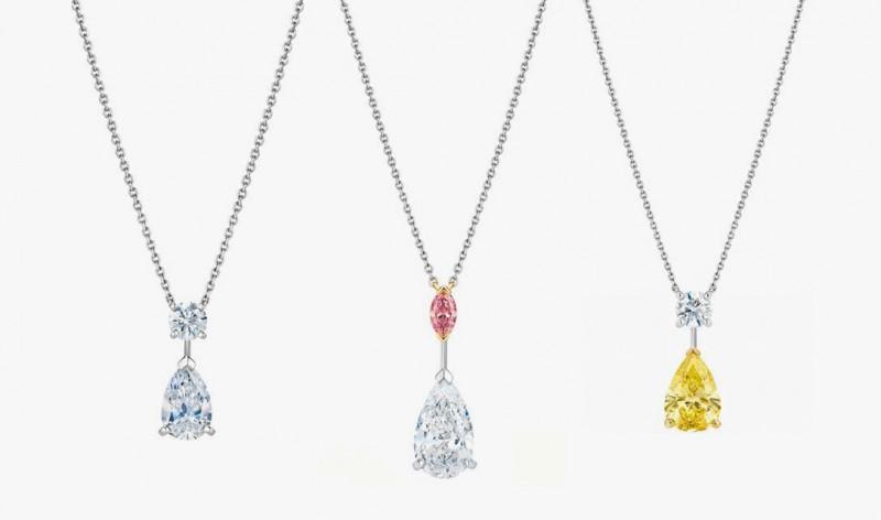Подвески с желтым, белым и розовым бриллиантами для колье Drops of Light от De Beers