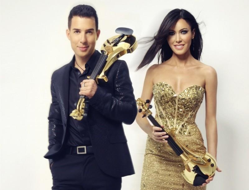 Линзи Стоппард и Бен Ли с золотыми скрипками