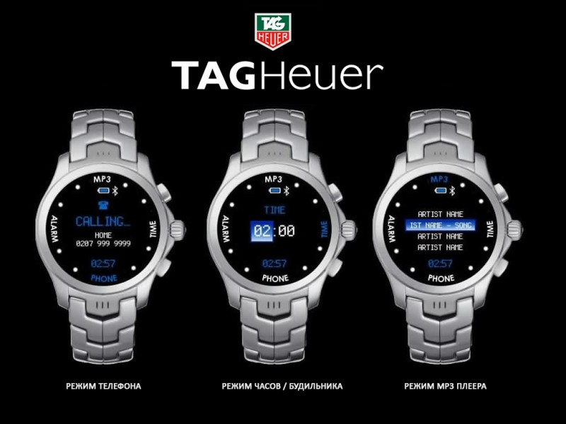 Один из концептов «умных часов» от Tag Heuer, Google и Intel