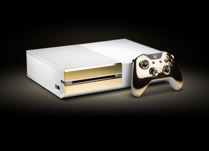 Фото Xbox One с золотым покрытием