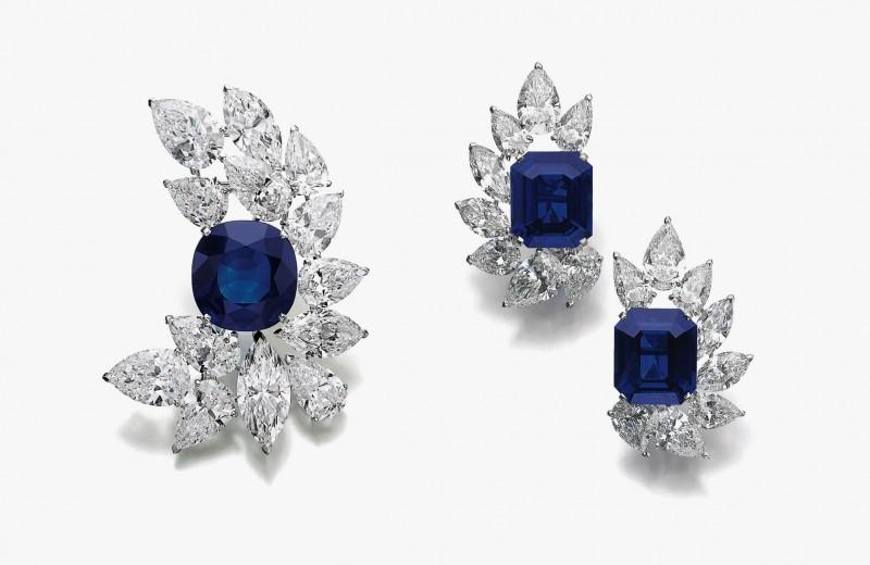 Серьги и брошь с бриллиантами и кашмирскими сапфирами от Cartier