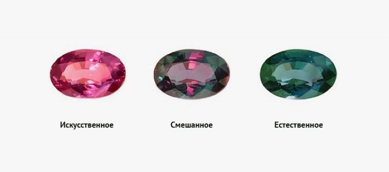 Фото ограненного александрита при разных источниках освещения