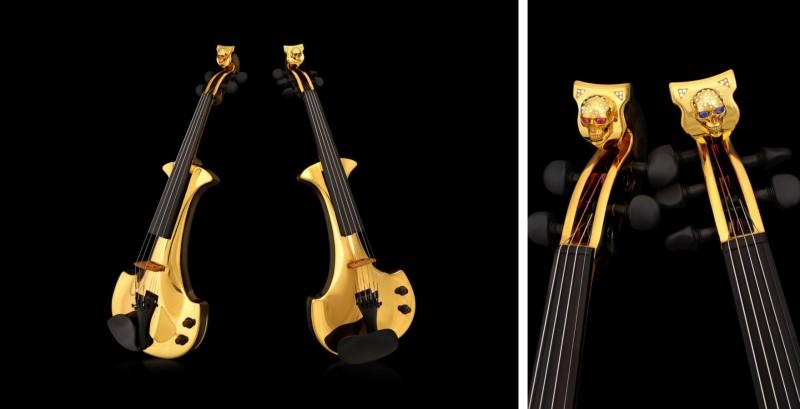 Покрытые золотом скрипки, спроектированные Тео Феннелом и изготовленные компанией Bridge для дуэта FUSE