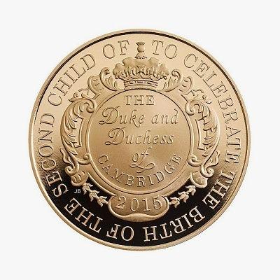 Золотая монета 5 фунтов стерлингов, выпущенные в честь рождения принцессы Шарлотты