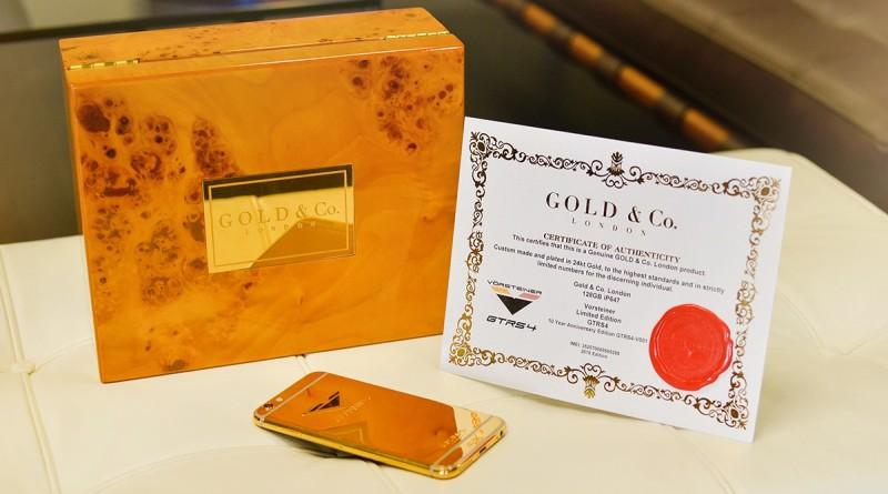 Золотой iPhone 6 от Vorsteiner и Gold & Co поставляет в фирменной коробке вместе с сертификатом качества