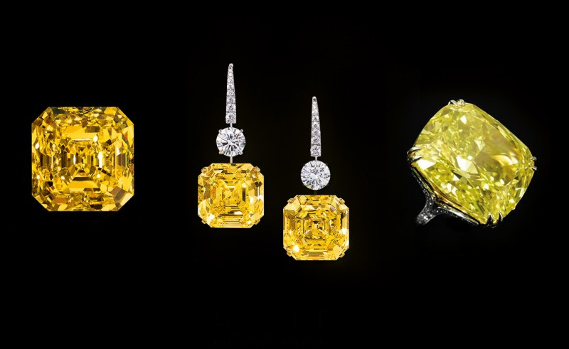 Слева направо: бриллиант The Delaire Sunrise, серьги с желтыми бриллиантами The Gemini Yellows, кольцо с бриллиантом Graff Vivid Yellow