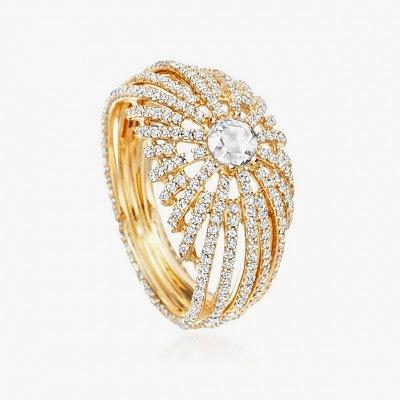 Кольцо из желтого золота с бриллиантами из коллекции Rising Sun