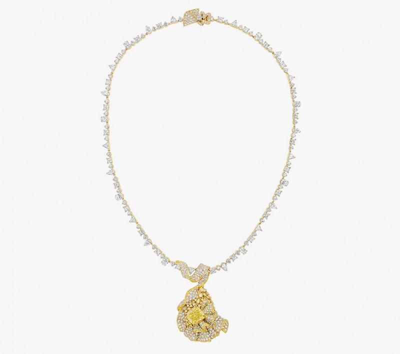 Колье с желтыми и бесцветными бриллиантами из коллекции Soie Dior