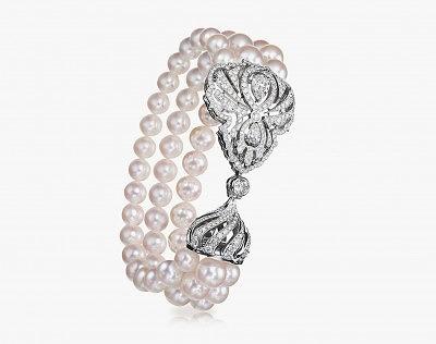 Браслет Fabergé с жемчугом акоя в белом золоте