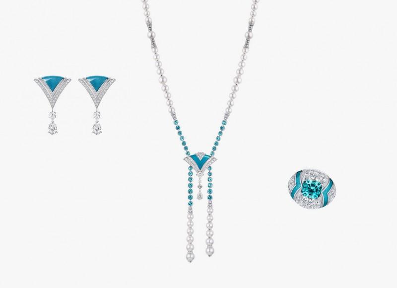 Украшения серии Excelsior из коллекции Acte V/The Escape от Louis Vuitton: серьги, колье и кольцо с голубой эмалью, турмалинами и бриллиантами