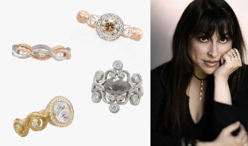 Памела Фроман и кольца из ее новой коллекции с розовыми, серыми и бесцветными бриллиантами