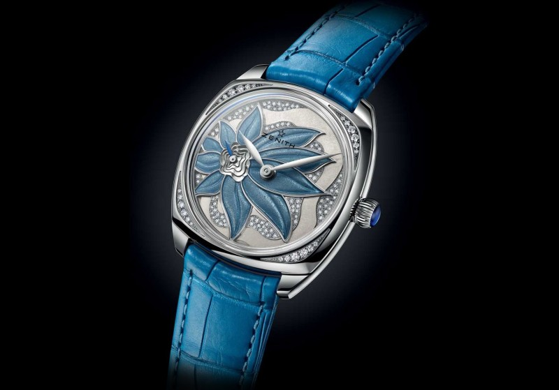 Часы Zenith Star с цветочным эмалевым узором на перламутровом циферблате, дополнительно украшенным бриллиантовым паве