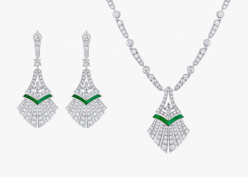 Колье и серьги с изумрудами и бриллиантами серии Excelsior из коллекции Acte V/The Escape от Louis Vuitton