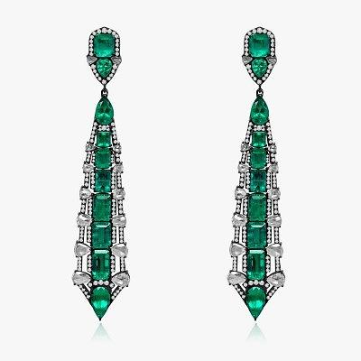 Серьги с изумрудами и бриллиантами от Sutra