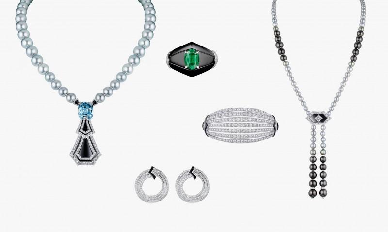 Колье серии Long Island с жемчугом, сапфиром, ониксом и бриллиантами, а также колье, серьги, кольцо и браслет с жемчугом, бриллиантами, ониксом и изумрудом серии Newport из коллекции Acte V/The Escape от Louis Vuitton