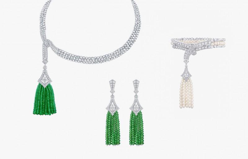 Колье, серьги и браслет серии Beau Rivage с жемчугом, бриллиантами и тсаворитами из коллекции Acte V/The Escape от Louis Vuitton