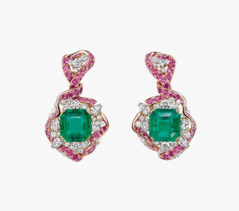 Серьги с изумрудами, розовыми сапфирами и бриллиантами из коллекции Soie Dior