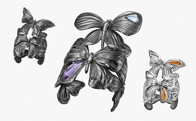 Браслет и кольца из серебра из коллекции Askill от Джордана Аскилла для Georg Jensen