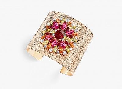 Браслет из розового золота с бриллиантами, рубинами, розовой шпинелью, мандариновыми гранатами и желтыми бериллами