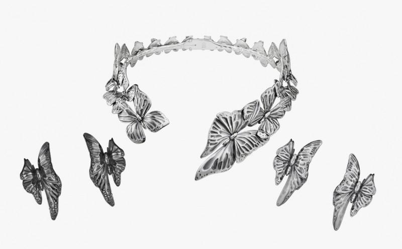 Открытое колье и серьги с бабочками из коллекции Askill