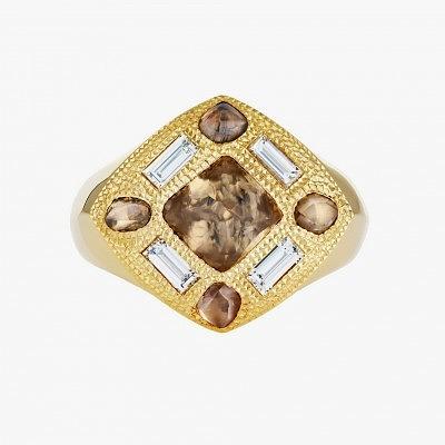 Мужское кольцо с необработанными алмазами и бриллиантами из коллекции Talisman