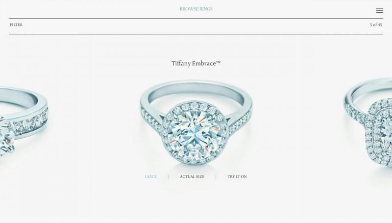 Экран выбора кольца в приложении Tiffany Engagement Ring Finder