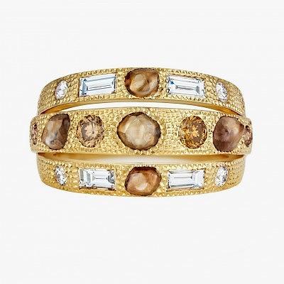 Тройное кольцо с из золота с разноцветными алмазами и ограненными бриллиантами из коллекции Talisman