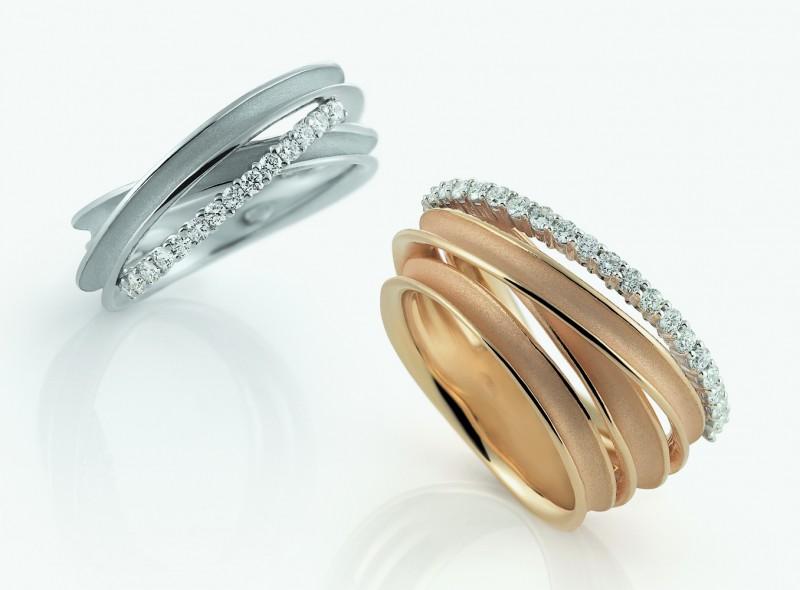 Золотые кольца Dune с бриллиантами