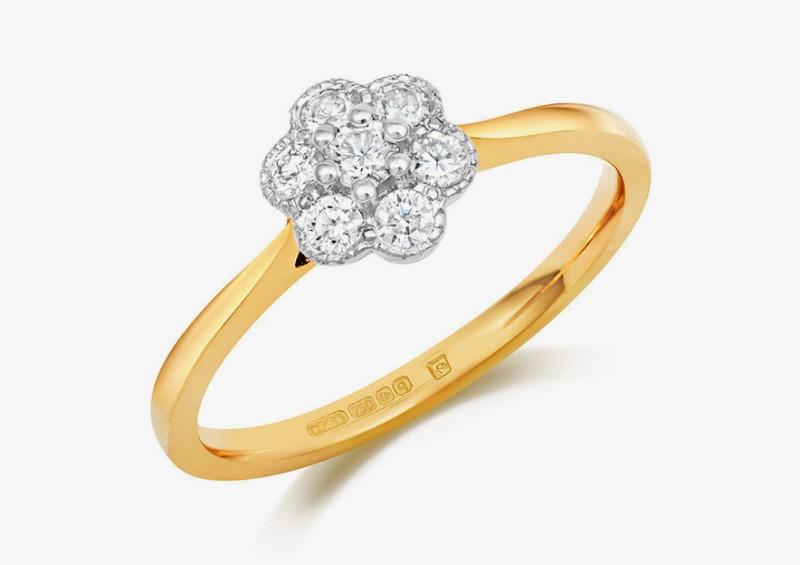 Кольцо Fleur из белого и желтого золота с бриллиантами