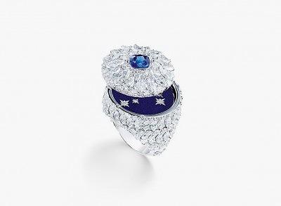 Кольцо с секретом из белого золота с бриллиантами, сапфиром весом 1,43 карата и синей эмалью