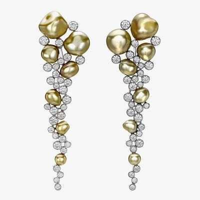 Серьги Regalia Gold с золотым жемчугом и бриллиантами от Mikimoto