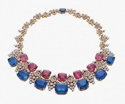 Колье Blue Iridescence с сапфирами, шпинелью и бриллиантами
