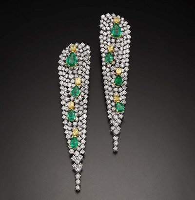 Серьги Butani с бриллиантами и изумрудами