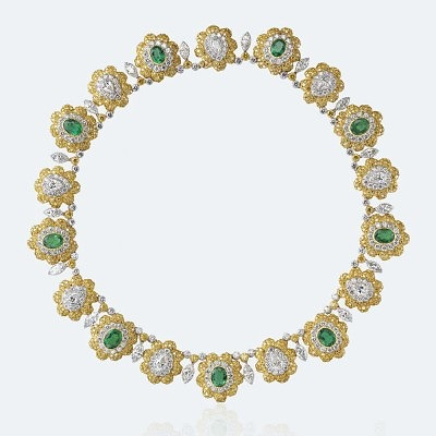 Колье Fiori от Buccellati: белое и желтое золото, бриллианты и изумруды