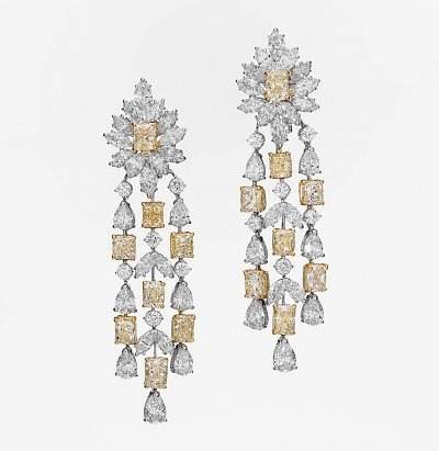 Серьги Butani с бесцветными и желтыми бриллиантами