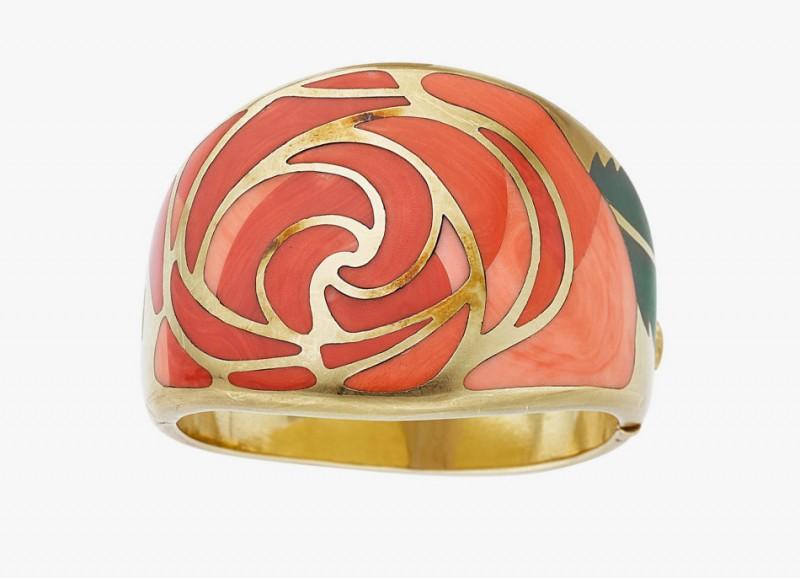 Золотой браслет от Angela Cummings для Tiffany & Co. Инкрустирован кораллом и авантюриновым кварцем