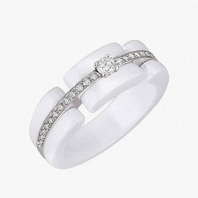 Помолвочное кольцо из белого золота и белой керамики с бриллиантами из коллекции Ultra