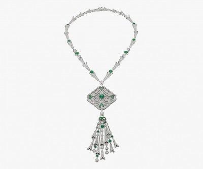 Колье Sparkling Hearts с изумрудами и бриллиантами