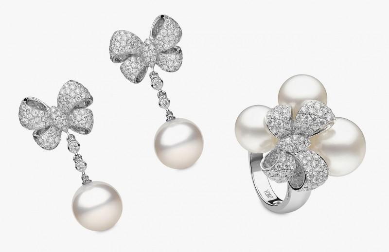 Серьги и кольцо с жемчугом и бриллиантами от Yoko London