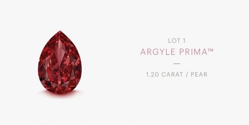 Красный бриллиант Rio Tinto Argyle Prima