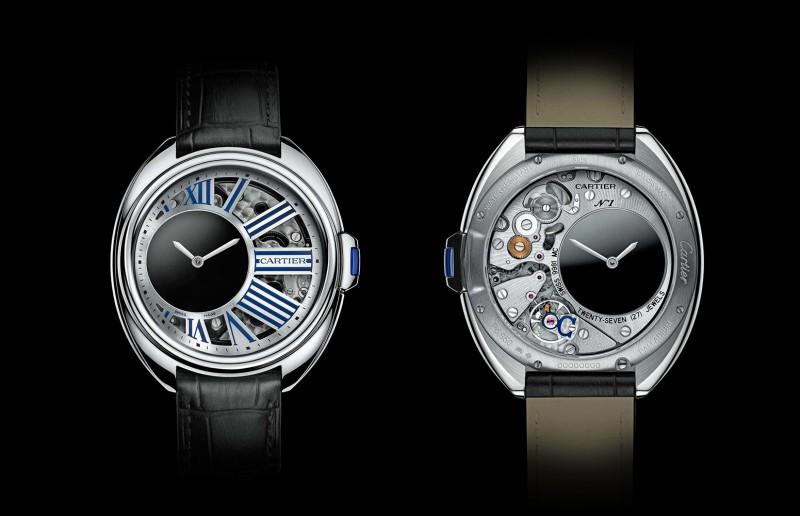 Часы Clé de Cartier Mysterious Hour Watch с лицевой и обратной стороны