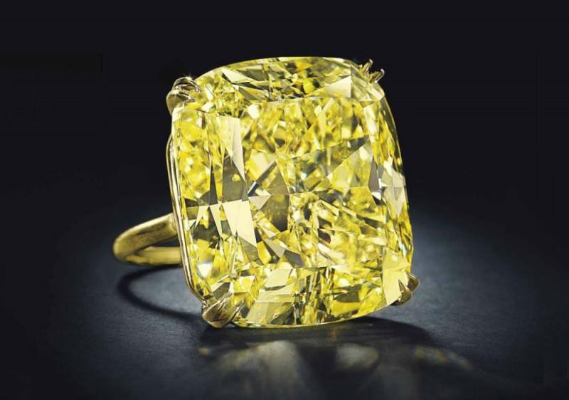 Кольцо с ярко-желтым бриллиантом весом 75,56 карата
